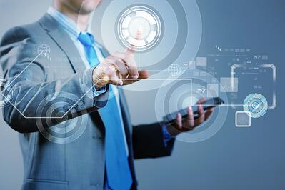 image of businesswoman touching screen with finger